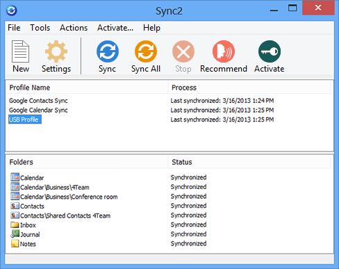Sync2 2.73.2761 software screenshot