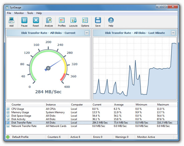 SysGauge 2.9.18 software screenshot