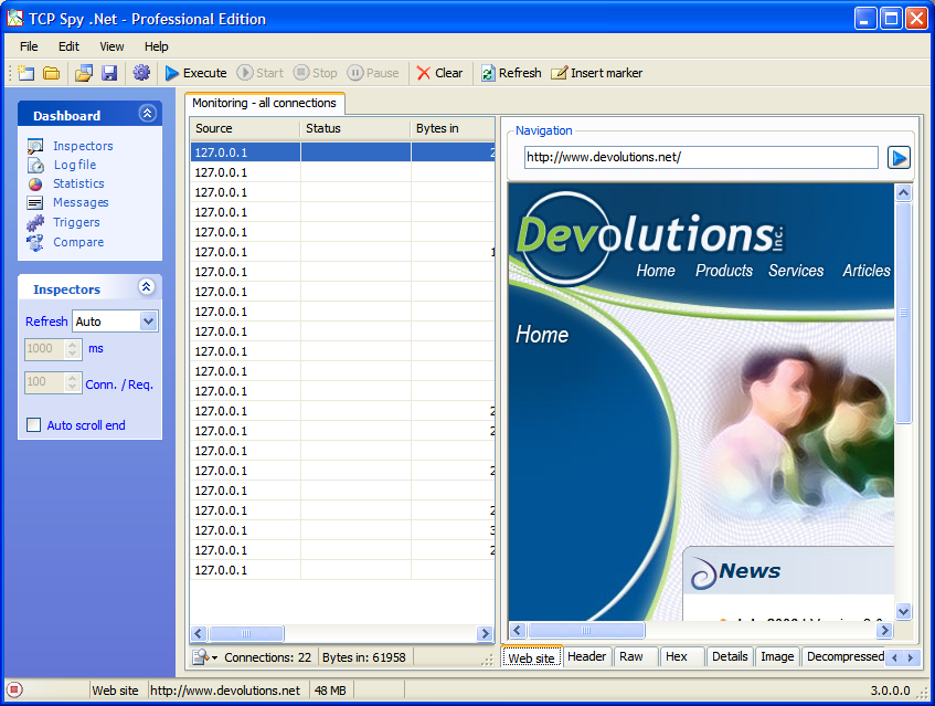 TCP Spy .NET Professional Edition 4.1 software screenshot