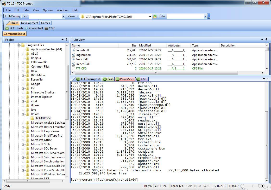 Take Command 21.00.34 software screenshot