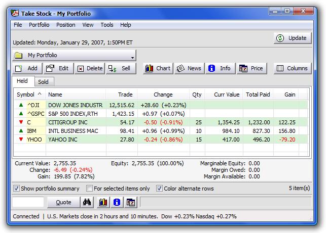TakeStock 2.0.48 software screenshot
