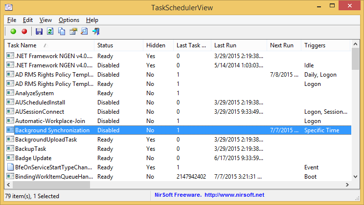 TaskSchedulerView 1.30 software screenshot