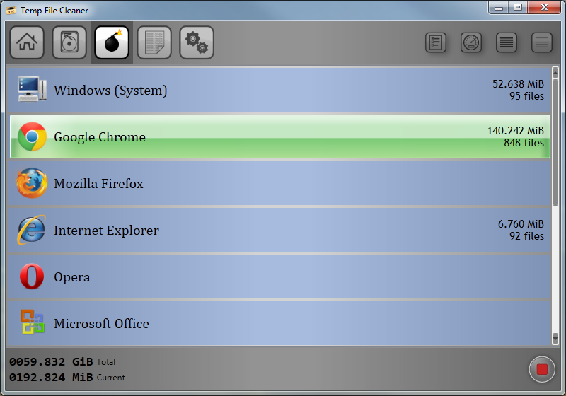 Temp File Cleaner 4.5.0 software screenshot