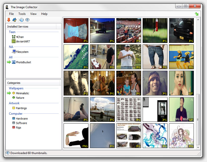 The Image Collector 1.14 software screenshot