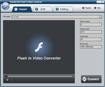 ThunderSoft Flash to Video Converter 2.5.0 software screenshot