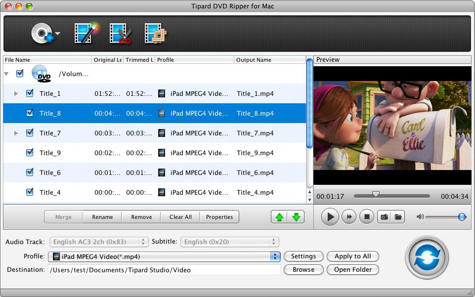 Tipard DVD Ripper for Mac 4.0.36 software screenshot
