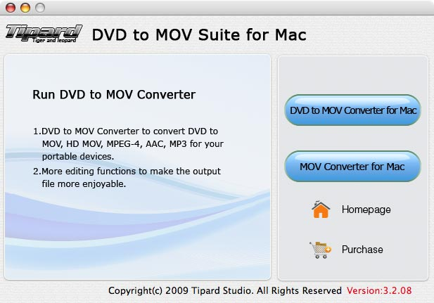 Tipard DVD to MOV Suite for Mac 3.2.08 software screenshot