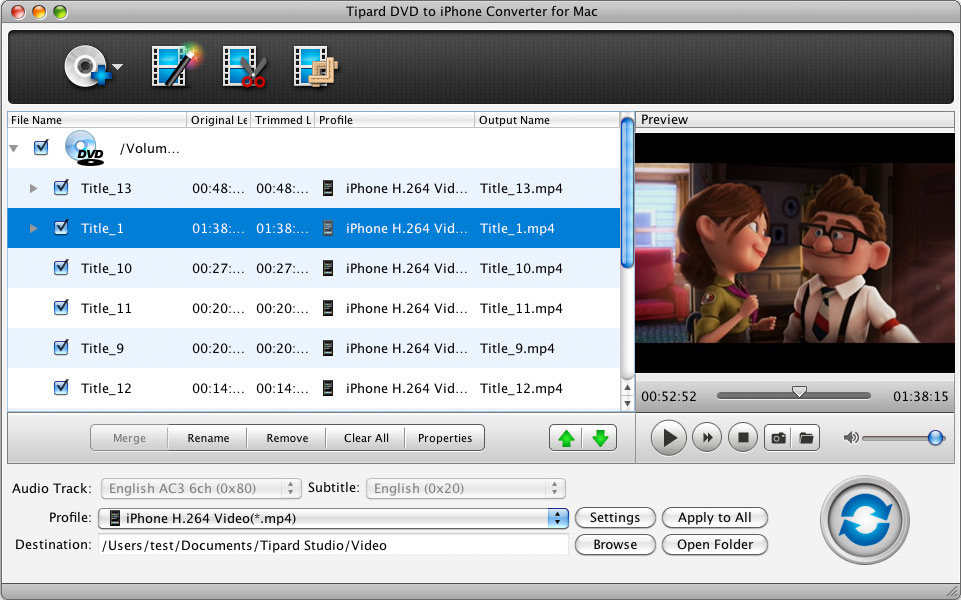 Tipard DVD to iPhone Converter for Mac 3.6.12 software screenshot