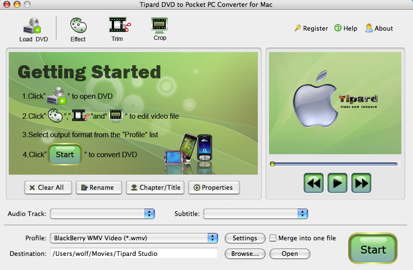 Tipard Mac DVD to Pocket PC Converter 3.6.06 software screenshot