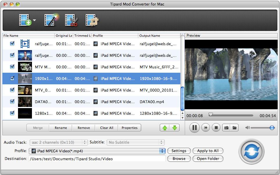 Tipard Mod Converter for Mac 3.6.22 software screenshot