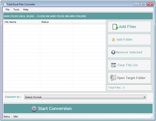 Total Excel Files Converter 3.6.2.6 software screenshot