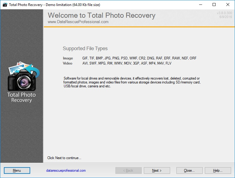 Total Photo Recovery 4.2.0.331 software screenshot