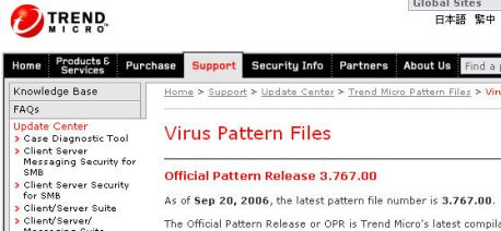 Trend Micro Virus Pattern File 13.507.00 software screenshot