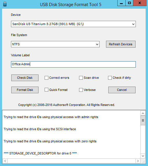 USB Disk Storage Format Tool 5.3.388 software screenshot