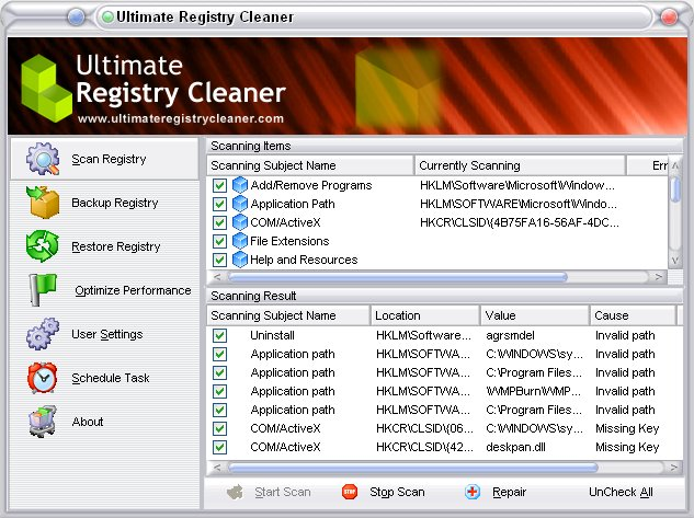 Ultimate Registry Cleaner 12.0 software screenshot