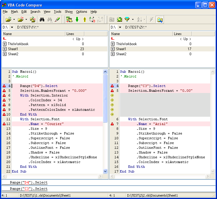 VBA Code Compare 0.4 software screenshot