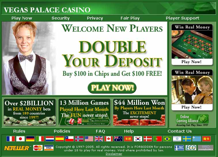 VEGAS PALACE CASINO 2.01 software screenshot