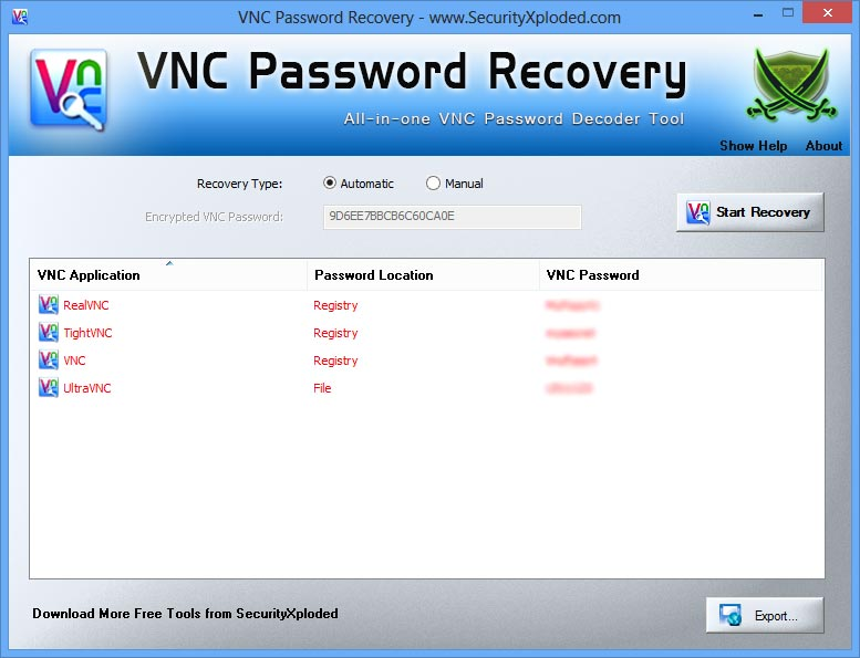 VNC Password Recovery 2.0 software screenshot