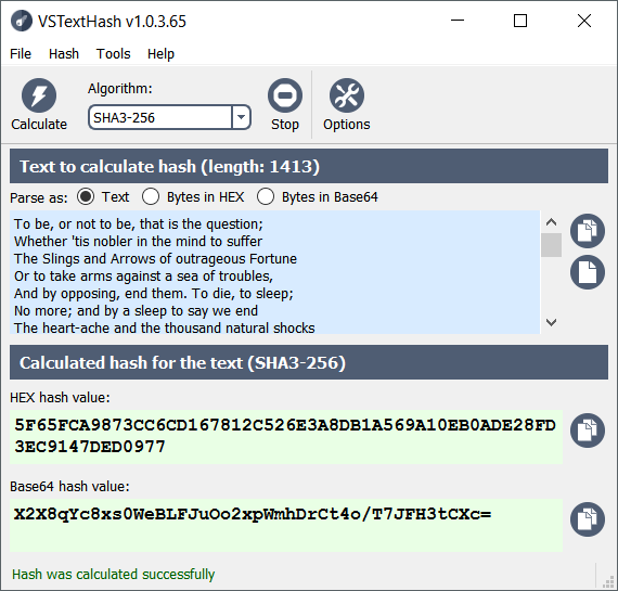 VSTextHash 1.1.3.69 software screenshot
