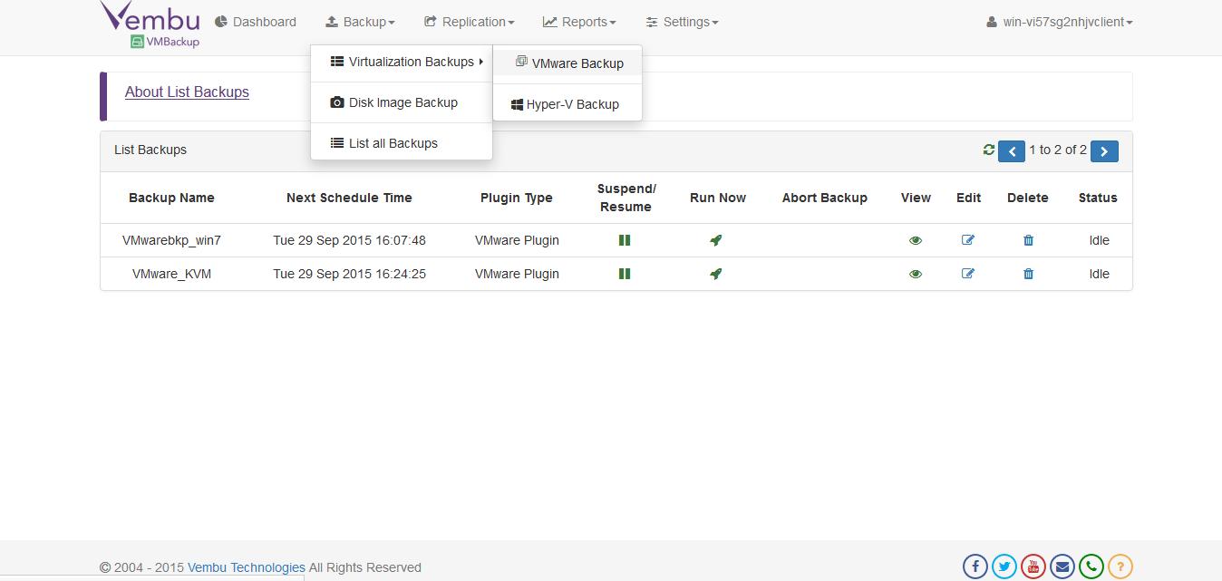 Vembu BDR Server 3.7.0.1 software screenshot