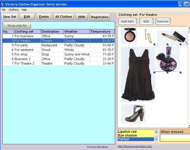 Victoria Clothes Organizer 1.2 software screenshot