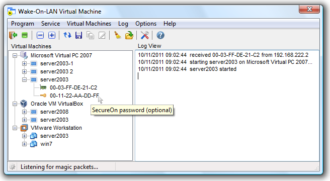 Wake-On-LAN Virtual Machine 1.0.575 software screenshot