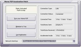 Warez Acceleration Patch 5.0.8 software screenshot
