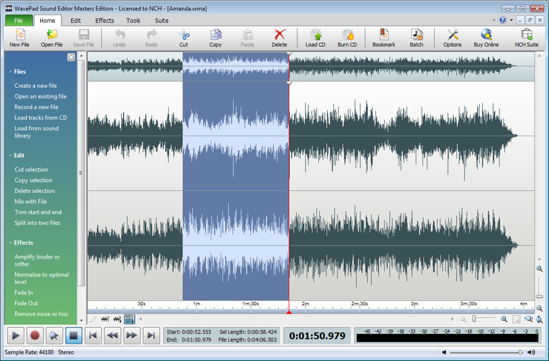 WavePad 7.09 Beta software screenshot