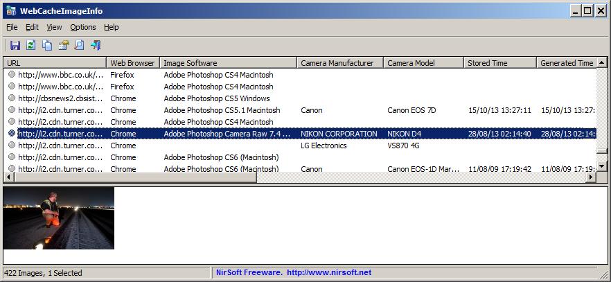 WebCacheImageInfo 1.22 software screenshot