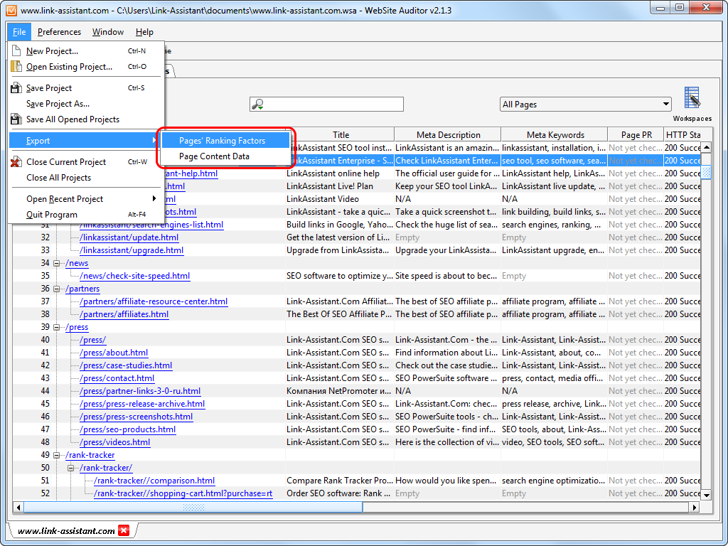 WebSite Auditor 4.24.1 software screenshot