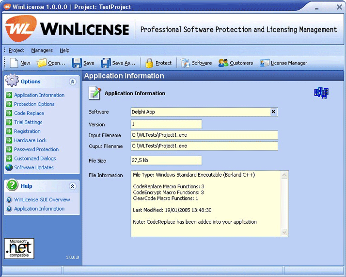 WinLicense 2.3.4.0 software screenshot