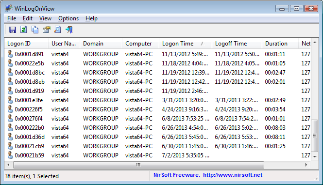WinLogOnView 1.20 software screenshot