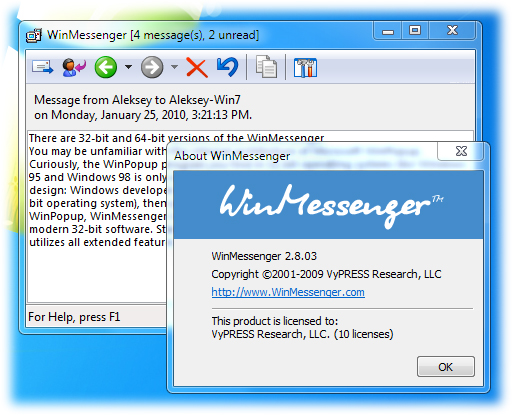 WinMessenger 2.8.05 software screenshot