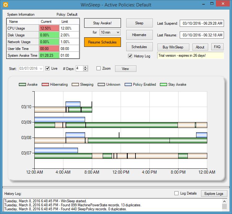 WinSleep 1.4.8.0 software screenshot