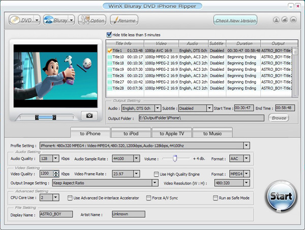 WinX Bluray DVD iPhone Ripper 4.5.1 software screenshot
