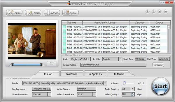 WinX DVD to Apple Ripper 3.6.7 software screenshot