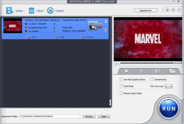 WinX Free MPEG to WMV Converter 5.0.1 software screenshot