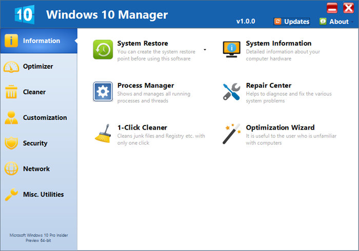 Windows 10 Manager 2.1.1 software screenshot