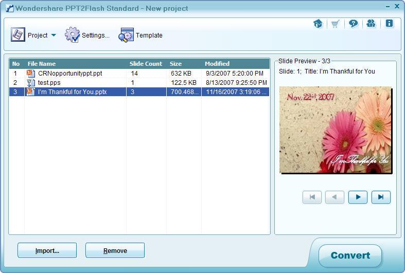 Wondershare PPT2Flash Standard 4.8.0 software screenshot