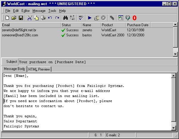 WorldCast 4.0.1.5 software screenshot