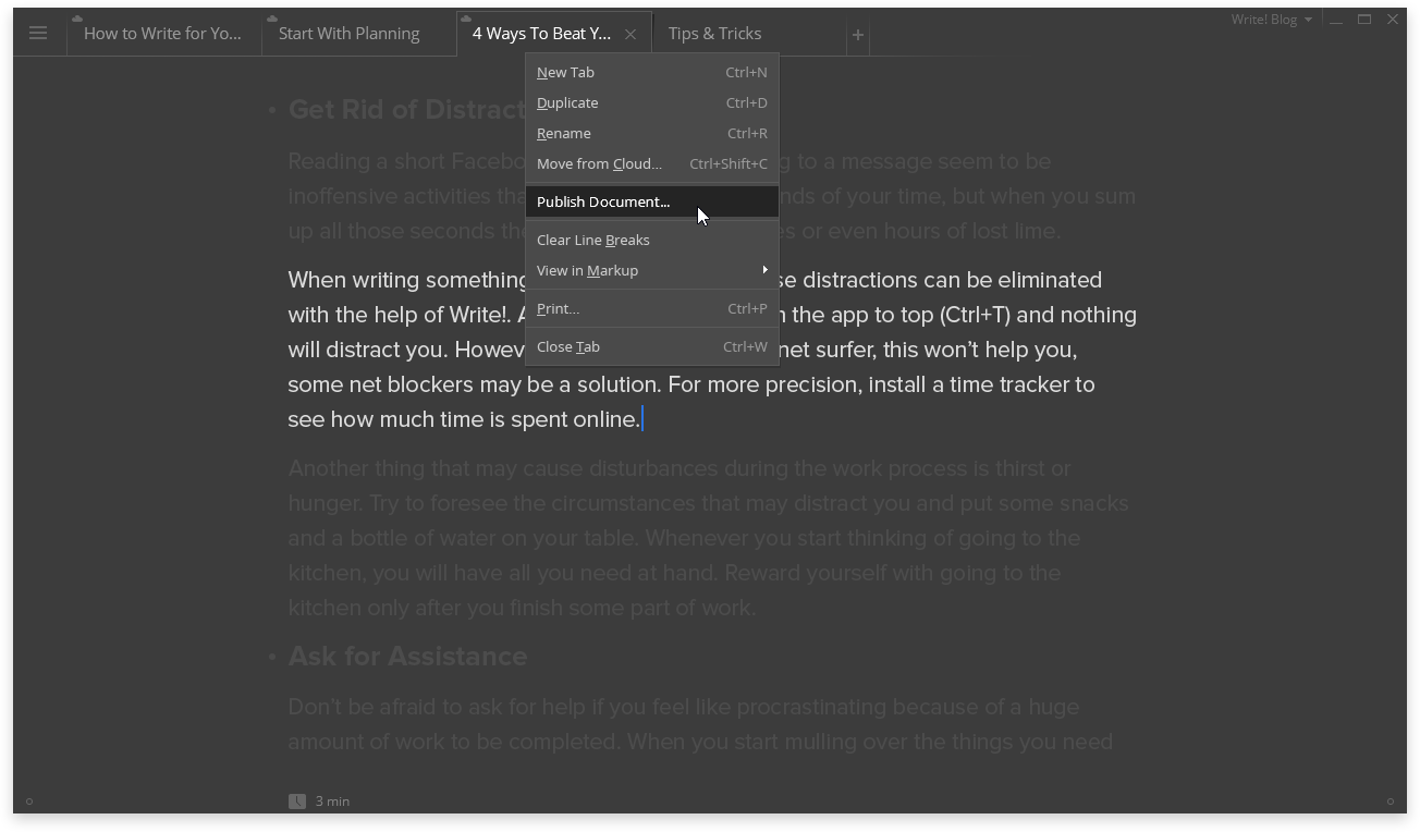 Write! 1.41.0 software screenshot