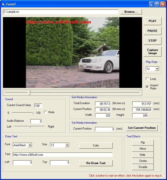 X360 Video Player ActiveX OCX 2.86 software screenshot