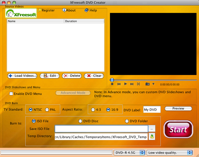 XFreesoft DVD Creator for Mac 2.3.0.0 software screenshot