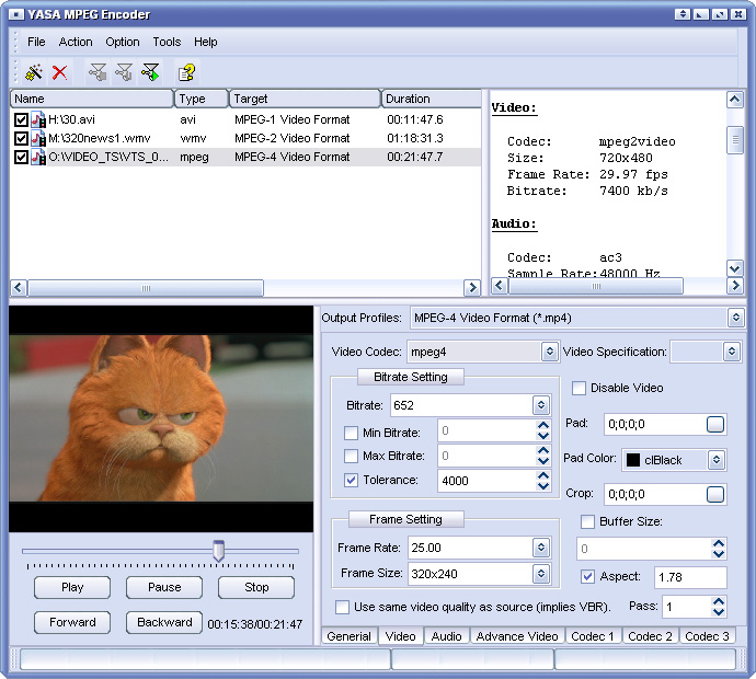 YASA MPEG Encoder 3.2.30.1253 software screenshot