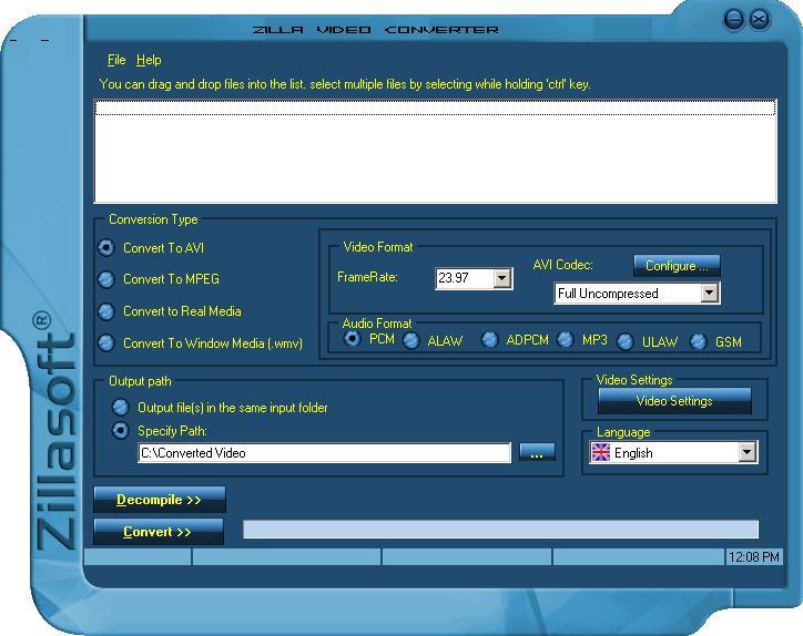 Zilla Free Video Converter-Decompiler 2.3.0.0 software screenshot