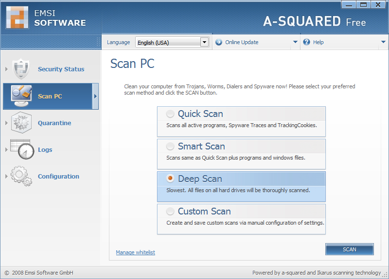 a-squared Free 4.5.0.27c software screenshot