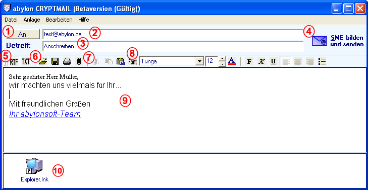 abylon CRYPTMAIL 15.90.10.1 software screenshot