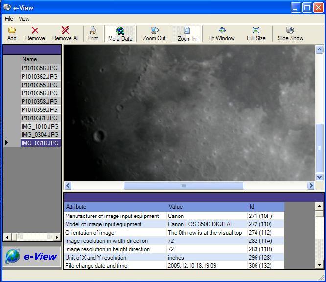e-View 1 software screenshot