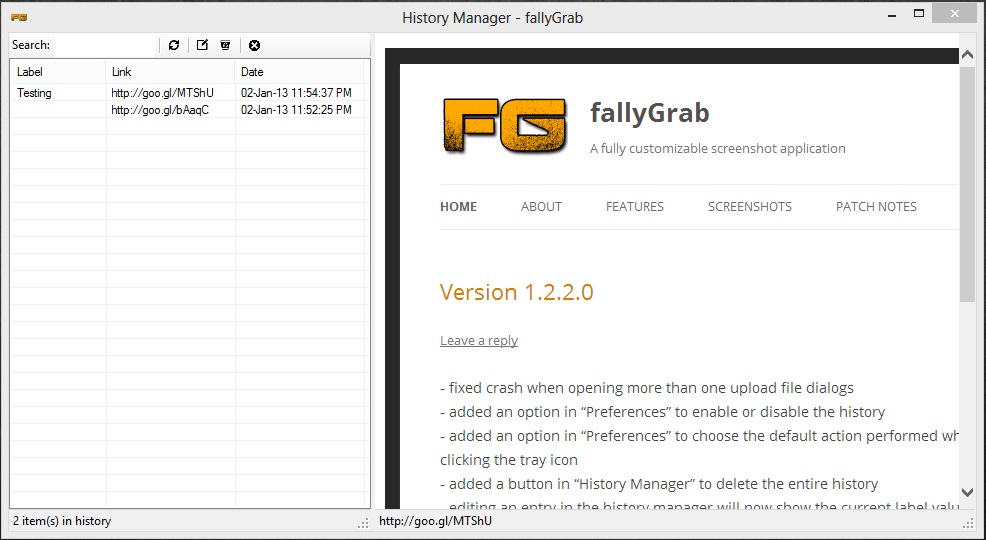 fallyGrab 1.3.3.2 software screenshot