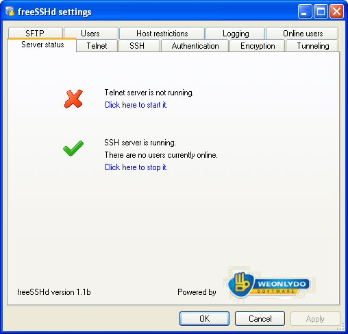 freeSSHD 1.3.1 software screenshot